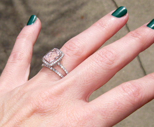 engagement ring with pink stone pave diamonds 5