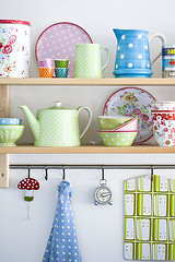 Spring is in the air (Craft & Creativity) Tags: color ikea colors mugs spring polka shelf polkadots teapot dots pitcher shelves pitchers greengate