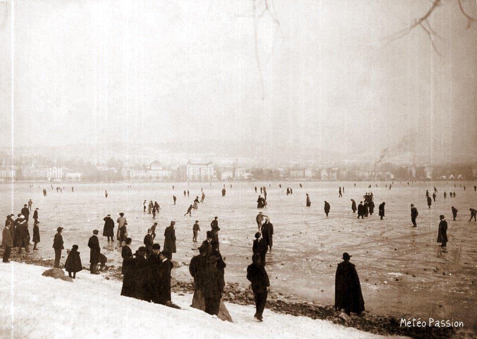 lac de Zurich gelé en février 1907