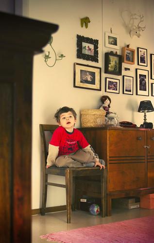 A little boy sitting