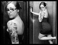 Inked (NEW|photography (Formerly: Nikki Loux Photography)) Tags: winter portrait blackandwhite bw selfportrait home tattoo self ma glasses dress room massachusetts newengland tattoos lipring mass piercings sleeve plugs gauges bridgewater halfsleeve