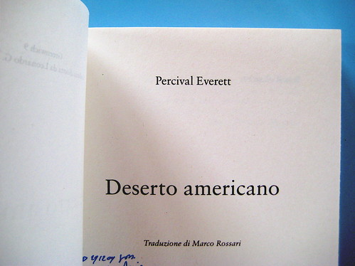 Percival Everett, Deserto americano, Nutrimenti 2009; art director: Ada Carpi, frontespizio (part.)