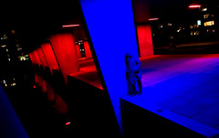I saw her standing there (zilverbat.) Tags: blue red people holland reflection netherlands colors girl dutch fashion architecture night standing pose dark lights artwork rotterdam exposure alone nightshot dramatic spot area unusual decor moods nai galerij eenzaamheid omgeving toneelstuk dramatisch nachtopname methodacting canon7d zilverbat sikkensprijs platvorm kleuronderzoek nederlandarchitectuurinstituut