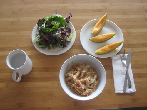 Penne, salad, melon - $6