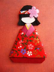 Japanese Chiyogami Paper Doll - Mei (umeorigami) Tags: japan japanese origami doll handmade craft geisha yukata kimono folded paperdoll papercraft washi chiyogami origamidoll warabeningyo