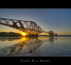 Forth Rail Bridge Sunrise (Kit Downey) Tags: uk bridge water sunrise canon coast scotland edinburgh industrial engineering iconic hdr firthofforth northqueensferry forthrailbridge photomatix scottishcoast 400d scottishwater bridgeinhdr kitdowney