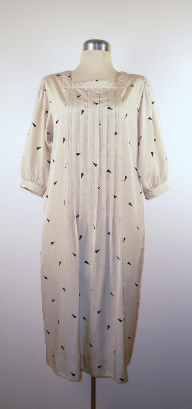 front - Silky Print Smock Dress with Pleated Front