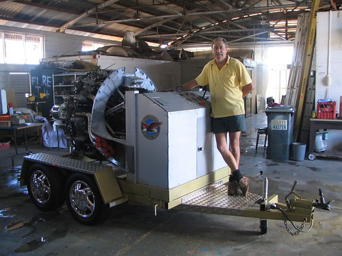 AHSNT Member Mike Wright and the Pratt and Whitney Engine on its Completed Trailer May 2006