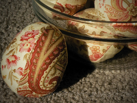 fabric quilt easter eggs sewn finished stuffed