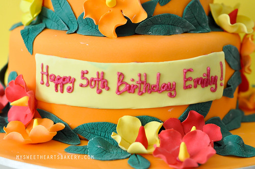 Hawaiian Theme 50th Birthday Cake