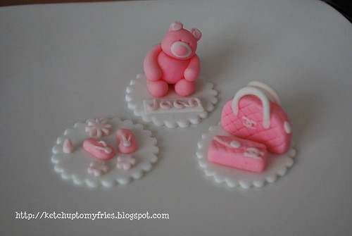 my fondant bear, bags, and slippers