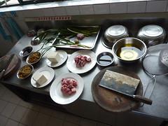 Ingredients (kattebelletje) Tags: tofu pork oil chengdu noodles spareribs cookingclass mes prep buckwheatnoodles strainer   vergiet doufu china2010  sichuanculinaryinstitute