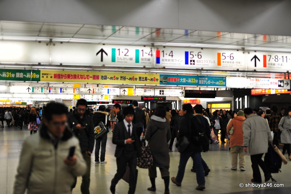The undercover area of Shinjuku station is one long corridor of platform stairs. Lots of people, signs and movement. Watch out in rush hour.