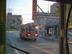 Memphis Fire Department responding to a call while riding aboard the Memphis Main Street Trolley. Memphis Tennesee USA. September 2007.