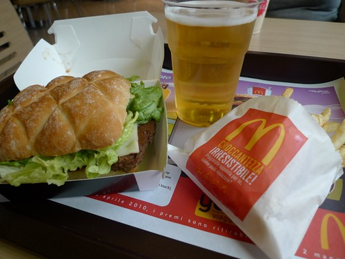 McDonald's Italy's il Mac and a Nastro Azzurro beer