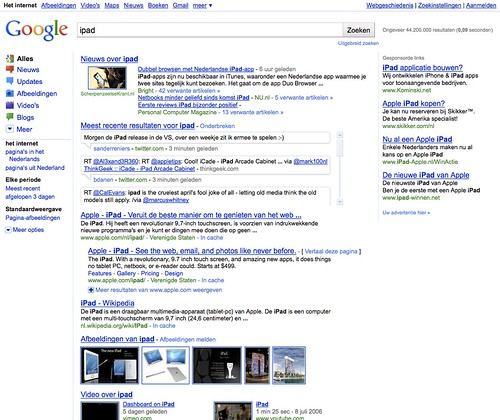 New Google Search Results page layout