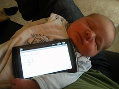 Baby makes a good tablet holder.