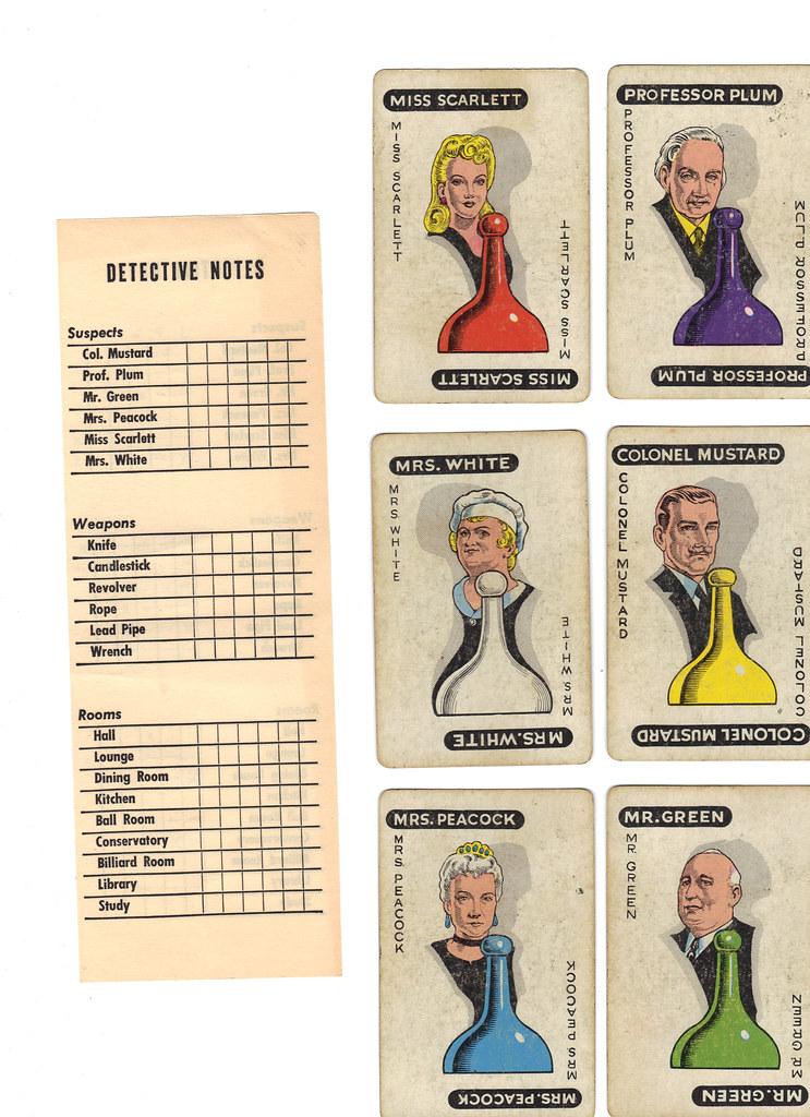 Vintage Clue game cards