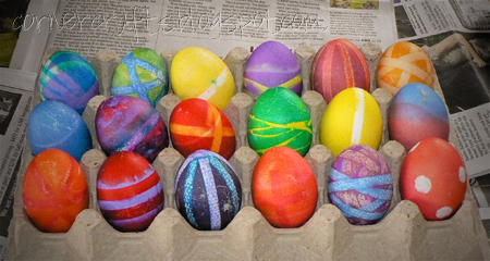 finished decorated easter eggs dyed