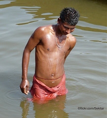 Holy Bath in Ganga River, Dashaswamedh Ghat, Varanasi (Sekitar) Tags: boy shirtless india man male river bath wash varanasi bathing ganga ganges benares ghat sekitar dashaswamedh ©sekitar