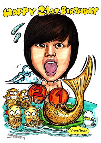 mermaid caricature of Fishy Toh A3