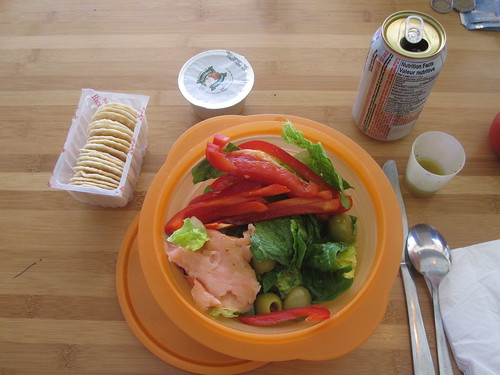 Salad, crackers, apple sauce, Diet Coke ($1.25)