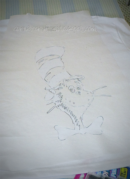 dr seuss freezer paper stencil cat in the hat shirt mess