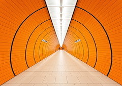 The Tunnel (Philipp Klinger Photography) Tags: light shadow orange white black color colour lines architecture train germany underpass subway munich mnchen point bayern deutschland bavaria nikon europa europe floor metro geometry central perspective vivid tunnel ceiling tiles ubahn architektur muc vanishing philipp sigma1224mm marienplatz klinger zentralperspektive fluchtpunkt colorphotoaward d700 dcdead vanagram