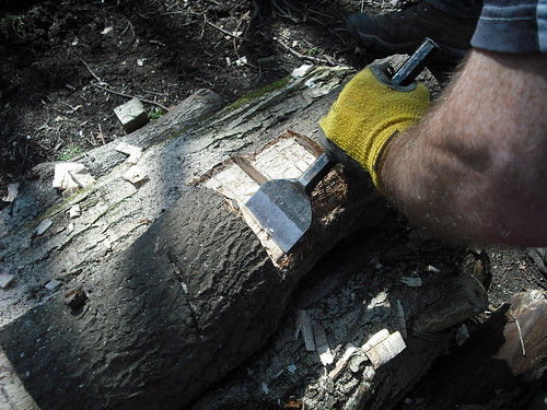 Chiseling wood with a brick chisel.