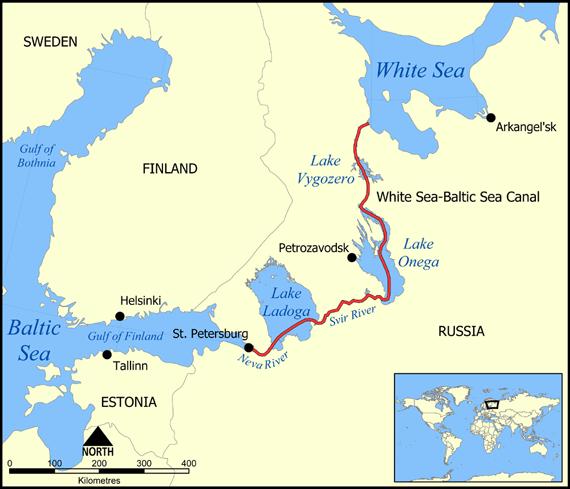 Mapa del canal Mar Blanco - Báltico