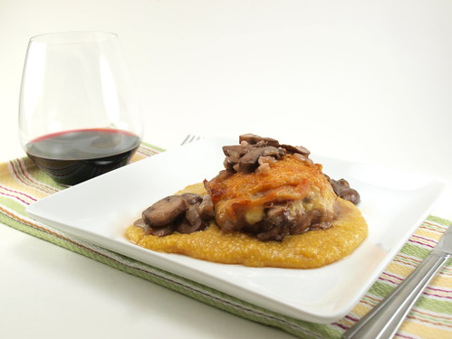 Zinfandel Braised Chicken Thighs with Mushrooms and Polenta