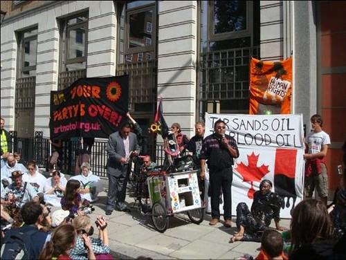 George Poitras outside BP HQ