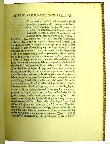 Opening page of Varro, Marcus Terentius: De lingua latina