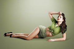 Dea (LalliSig) Tags: portrait woman brown black green smile fashion studio portraiture pinup
