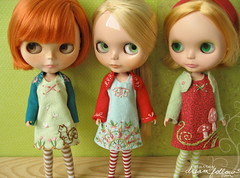 new Blythe clothes (merwinglittle dear) Tags: dress little handmade embroidery felt clothes jacket blythe dear shrug