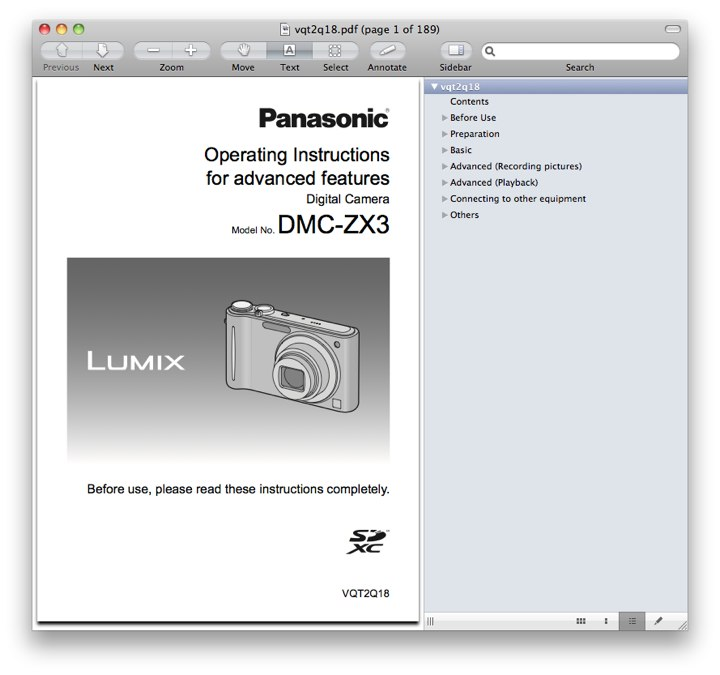 Advanced Panasonic ZX3 / ZR3 Manual