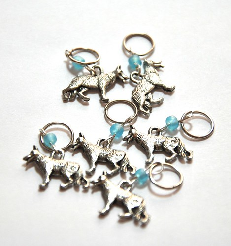 stitch markers from Wandering Cat Yarns - gift-in memory of Biko