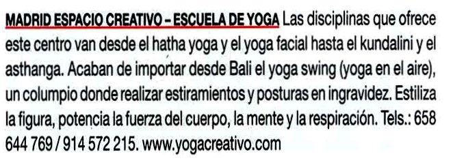 madrid yoga creativo, prensa