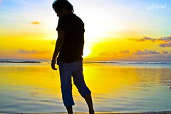Seeing the Brighter Side [Explored] (Lel4nd) Tags: blue sunset shadow me water silhouette yellow leland peace awesome emo posing le lee guam roxas goodday canon28135mm greatday hafaadai eos7d canon7d goodmode seeingabrighterside