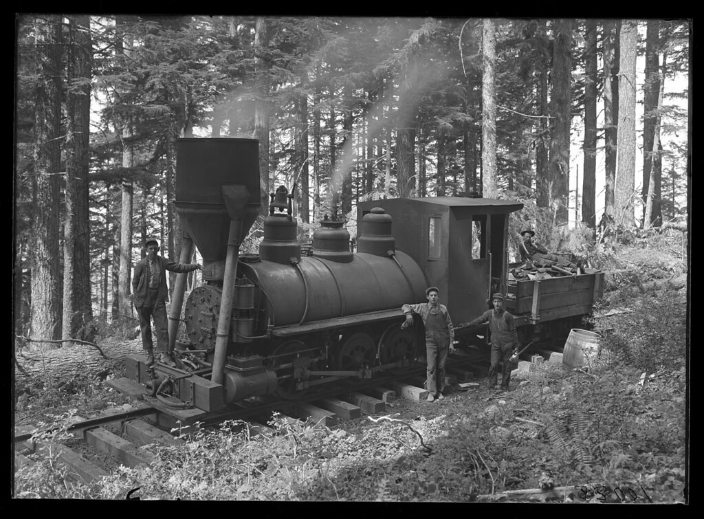 """Peggy"" engine in woods"