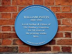 Photo of William Potts blue plaque