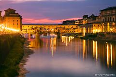 Florence, Italy :: Ponte Vecchio (-yury-) Tags: bridge sunset italy night river florence italia tuscany firenze arno toscana pontevecchio supershot abigfave