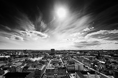 Copenhagen from Above (Kasper Svanberg) Tags: above city roof sky urban bw cloud sun sunlight house building tower church beautiful up skyline architecture clouds facade copenhagen denmark outside outdoors town high europe day cityscape exterior cloudy capital wide dramatic scene architectural roofs historical sight skyer kbenhavn dramtisk sorthvid hustage