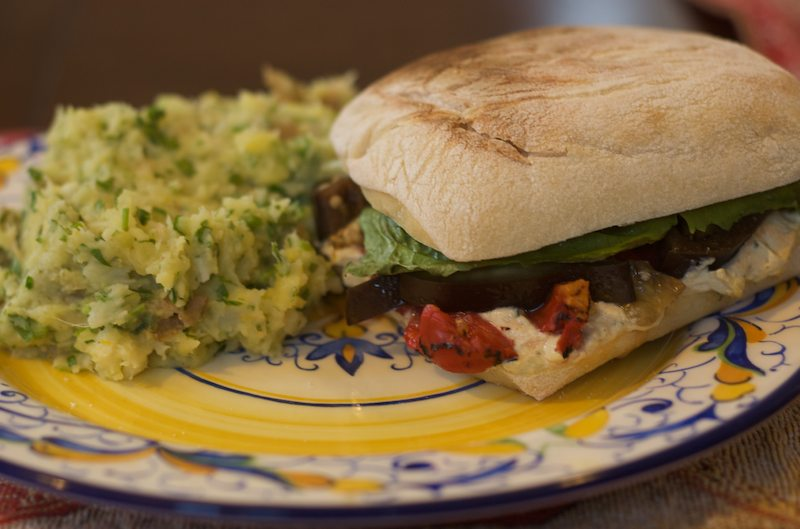 ricotta eggplant pepper sandwich with parsley-lemon mash