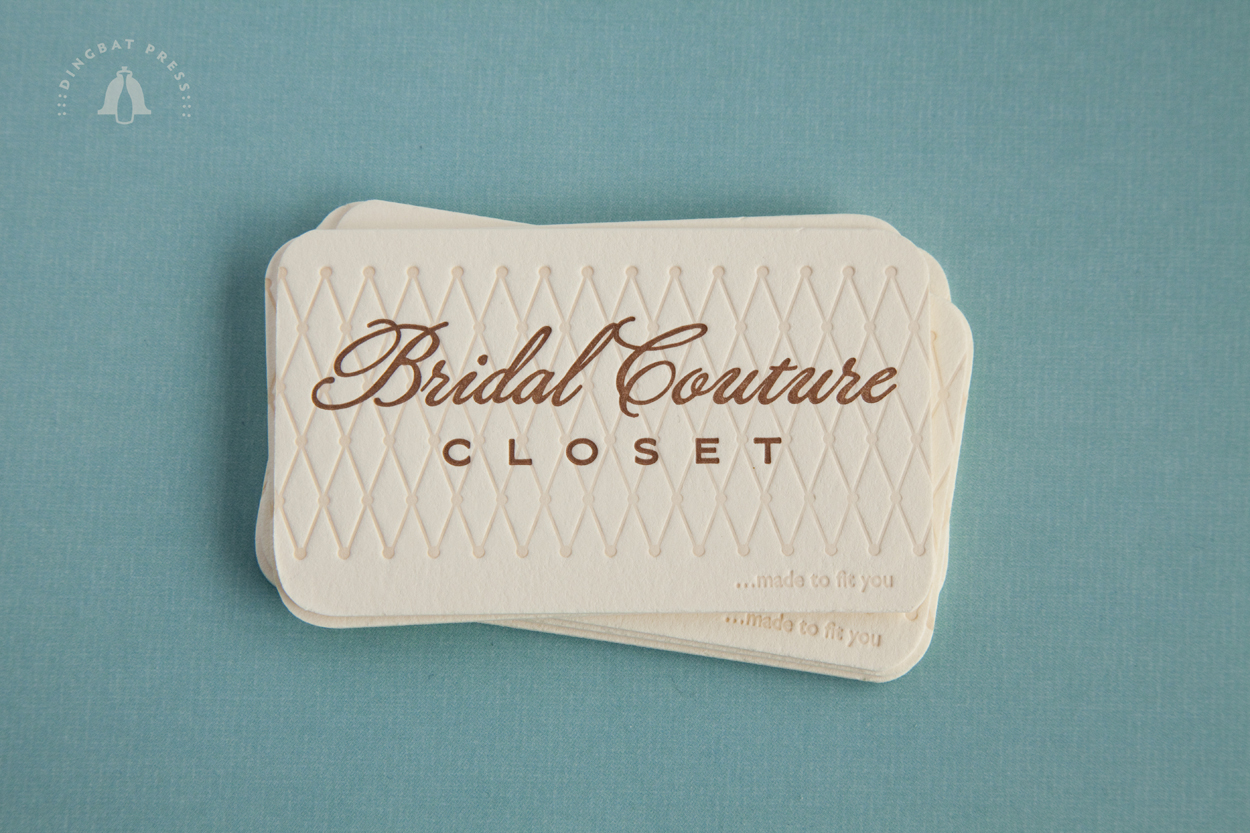 Bridal Couture Closet, Letterpress Business cards