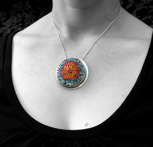 Hand Embroidered Fiber Pendant