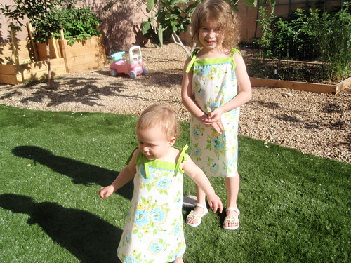 Enjoying their new dresses