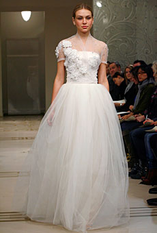 Bridal gown-style applications on the shoulder