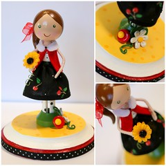 Sweet Cherry (Bunches and Bits {Karina}) Tags: flowers cherry polymerclay sunflower sculpey polkadot clothespindoll clothespindolls teacherappreciationgifts
