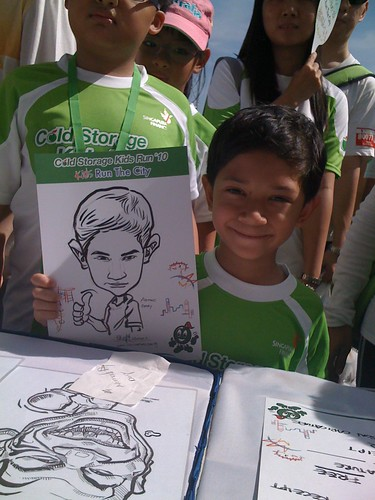 caricature live sketching for Cold Storage Kids Run 2010 - 10